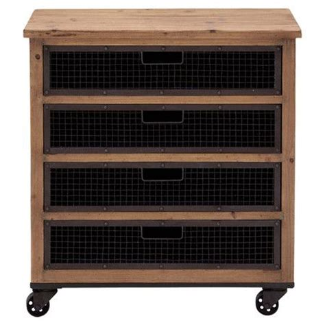 Wire Cabinet Drawers by Wood Cabinet On Casters With 4 Wire Basket Drawers
