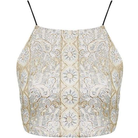 topshop beaded crop top topshop gold beaded embellished bralet 36 liked on