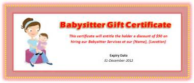Babysitting Gift Voucher Template by Babysitting Voucher Template Microsoft Word Templates