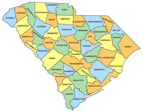 county map of carolina with cities south carolina county map