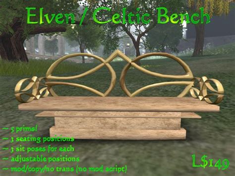 celtic bench second life marketplace elven celtic bench