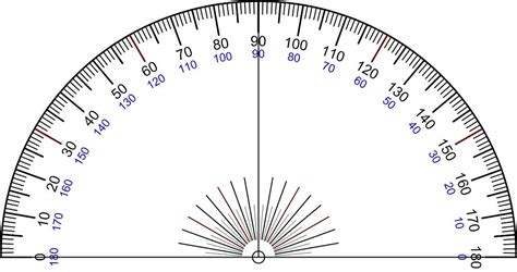 printable protractor with lines measuring objects for your drawing beginner s school