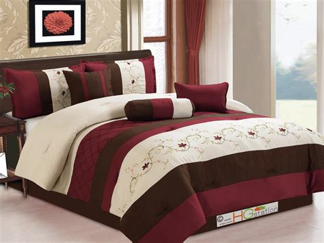 beige and burgundy bedroom 7 pc floral scroll embroidery pleated comforter set