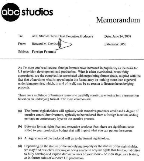 Bombshell Abc Studios Memo Is Blatant Blueprint To Rip Off Foreign Tv Series Deadline Tv Show Pitch Template