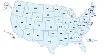 50 states map with abbreviations