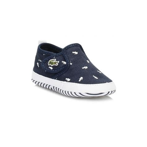 Baby Crib Trainers Lacoste Baby Trainers Gazon Crib Canvas Slip On Shoes Various Colours Ebay