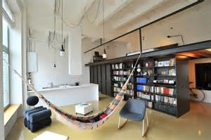 Contemporary Kitchen Lighting Fixtures - factory loft with an integrated hammock and a mezzanine