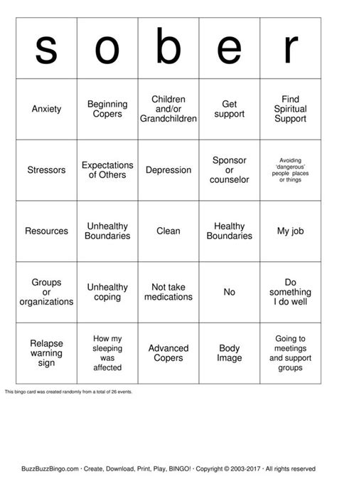 printable recovery games recovery bingo cards to download print and customize