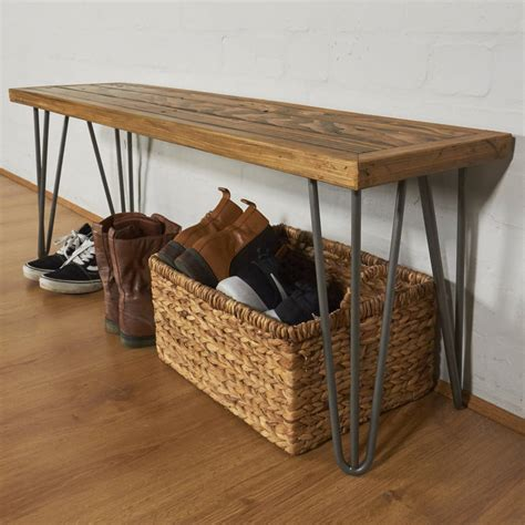 benches for hallways reclaimed industrial pallet hallway bench hairpin legs by sunnyside interiors