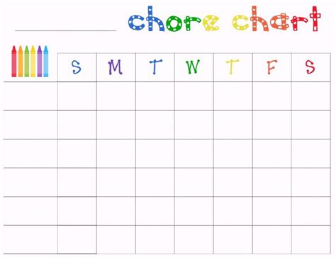 free printable chore charts template