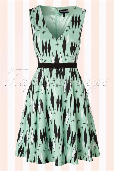 swing kleid mint 50s retro diamonds swing dress in mint