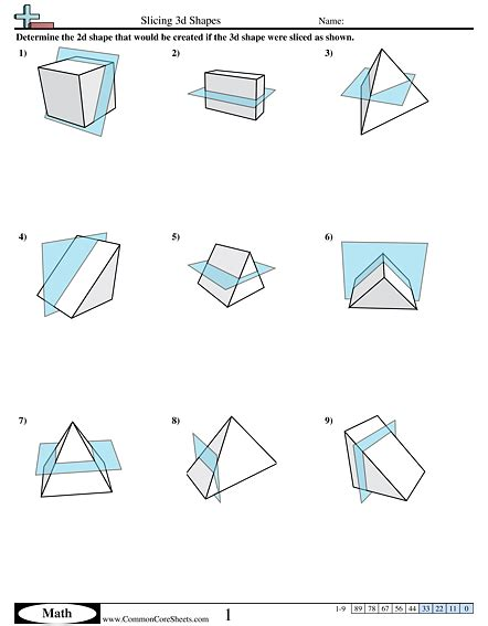 cross section of a 3d shape shapes worksheets