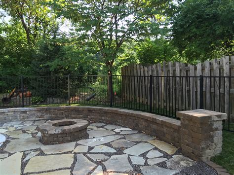 flagstone patio with firepit backyard makeover edwardsville pit and flagstone patio