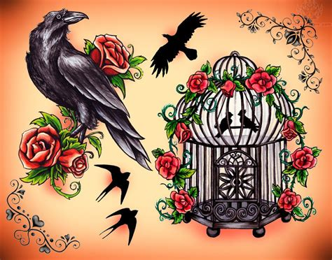 crow tattoo design roses and birdcage design tattoos