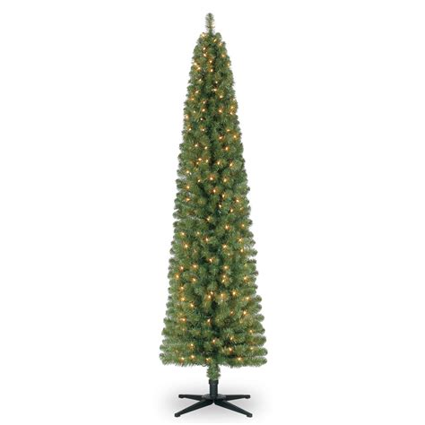 7 ft pre lit green pencil artificial christmas tree