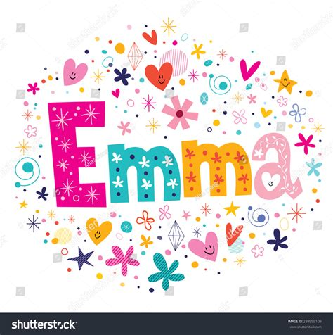 decorative design types emma female name decorative lettering type stock vector