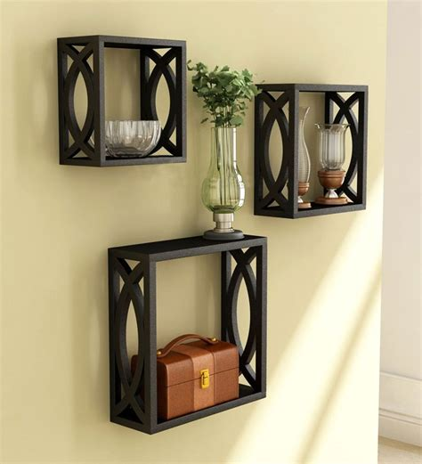 stylishly cut black wall shelves set of 3 by home