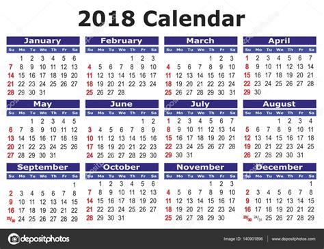 printable calendar 2018 indonesia 简单的矢量日历 2018 图库矢量图像 169 alfonsodetomas 140901896