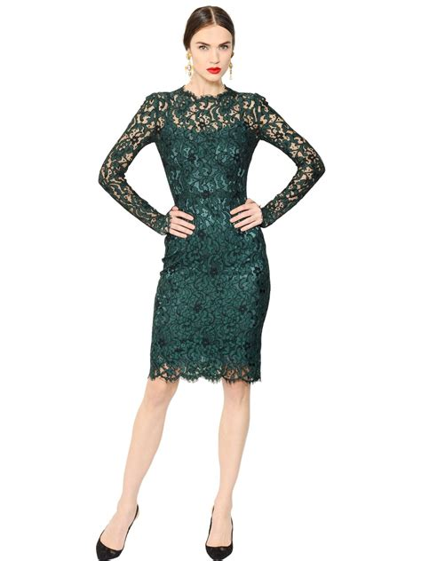 Lace Dress Green lyst dolce gabbana cordonetto lace dress in green