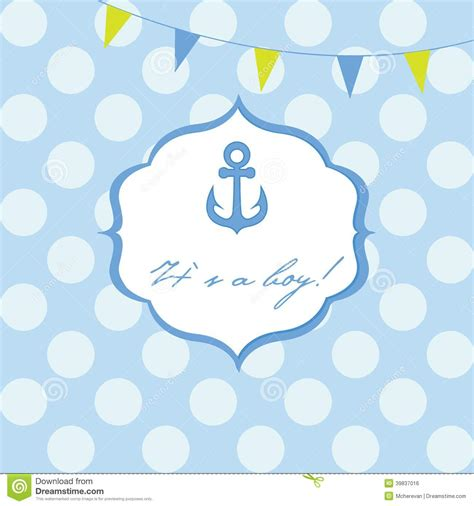 baby boy shower card with cute anchor on seamless polka
