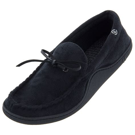 black isotoner slippers isotoner black moccasin slippers for