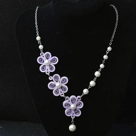 how to make a beaded flower necklace how to make a purple quilling paper flower necklace with