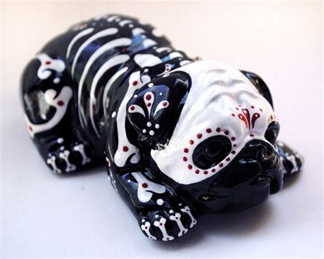 sugar skull pug day of the dead painted sugar skull statue pug bulldog puppy figurine muerto