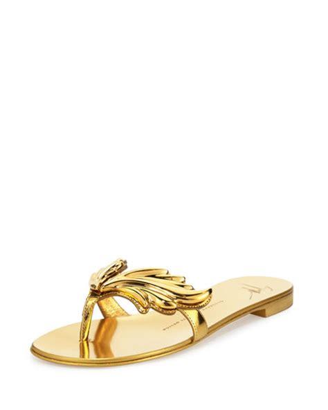 giuseppe zanotti wing sandals giuseppe zanotti wings metallic flat sandal oro
