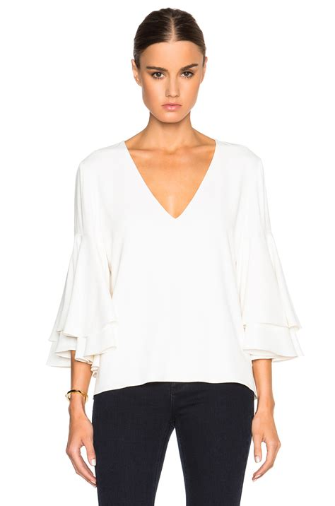 Ruffle Blouse White Sleeve by Thor Ruffled Sleeve Blouse In White Lyst