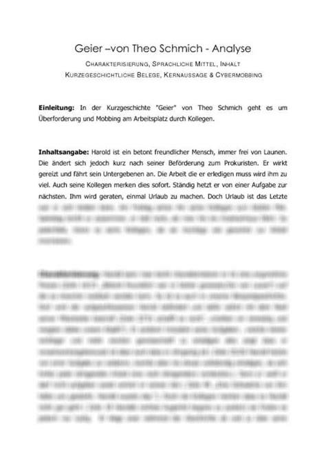 Charakterisierung Schreiben Muster Analyse Der Kurzgeschichte 180 Geier 180 Theo Schmich
