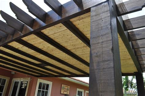 pergola with bamboo roofing pergolas pinterest
