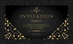 black and gold vintage style invitation card vector 04 vector card free