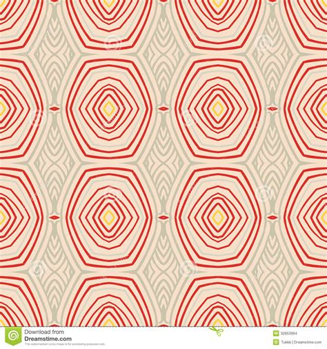 Sixties Home Decor Retro Pattern With Oval Shapes In 1950s Style Stock