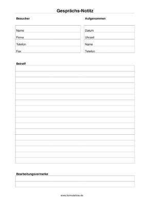 Vorlage Word Notizen gespr 228 chsnotiz mit vermerken vorlagen muster zum downloaden