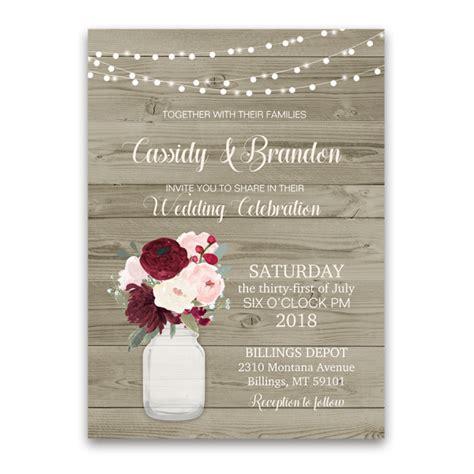 Wedding Invitations Burgundy by Rustic Jar Floral Wedding Invitations Burgundy