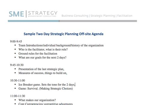 sample strategic planning agenda 2 days