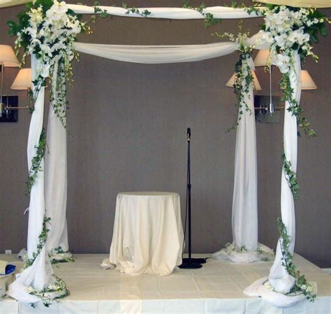 draped chuppah chuppah draped with white fabricaccented with white