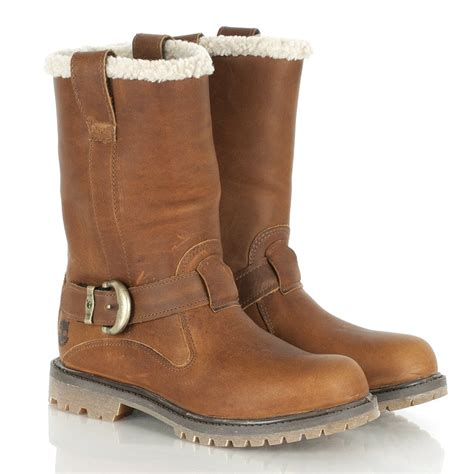 womens boots timberland medium brown leather nellie pull on winter