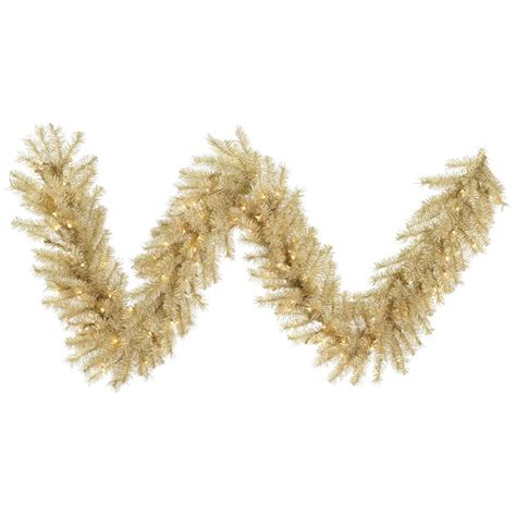 9 Foot White Gold Tinsel Garland Lights A148115 Gold Garland With Lights