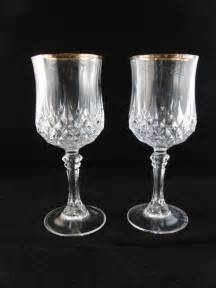 Genuine lead crystal wine glasses with gold trim 2 by sweetresale