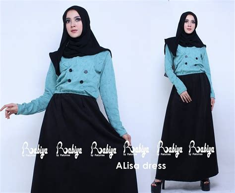 Aliza By Agoest Hanggono alisa dress biru tosca baju muslim gamis modern