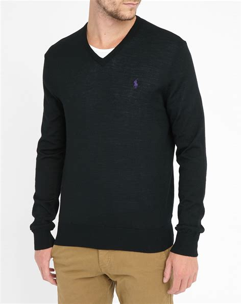 Sweater Polos polo ralph black v neck merino sweater in black for lyst