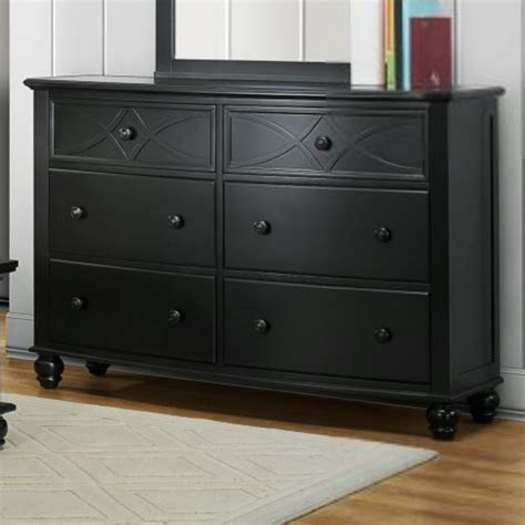 Shelf Dresser by Homelegance Sanibel 6 Drawer Dresser In Black Beyond Stores