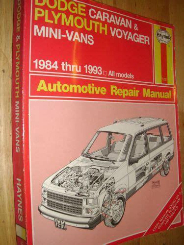 1984 1985 dodge caravan plymouth voyager repair manual by chilton ebay sell 1984 1993 dodge plymouth caravan voyager van shop manual 92 91 90 89 88 87 motorcycle