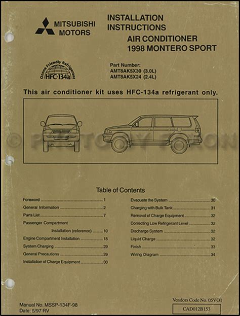 1998 mitsubishi montero sport air conditioner installation instruction manual original