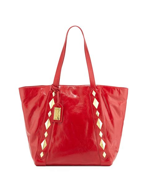 Badgley Mischka Platinum Scarlet Tote by Lyst Badgley Mischka Studded Shine Leather Tote