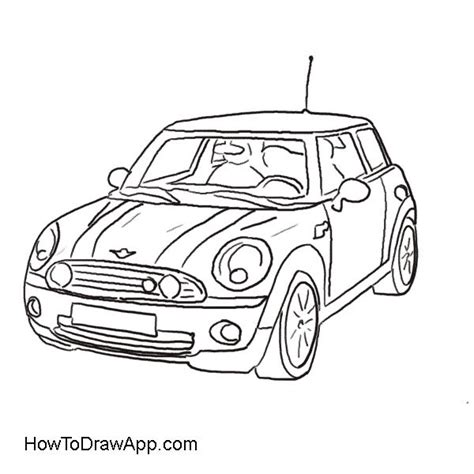 mini car coloring page drawing of the mini cooper car coloring pages