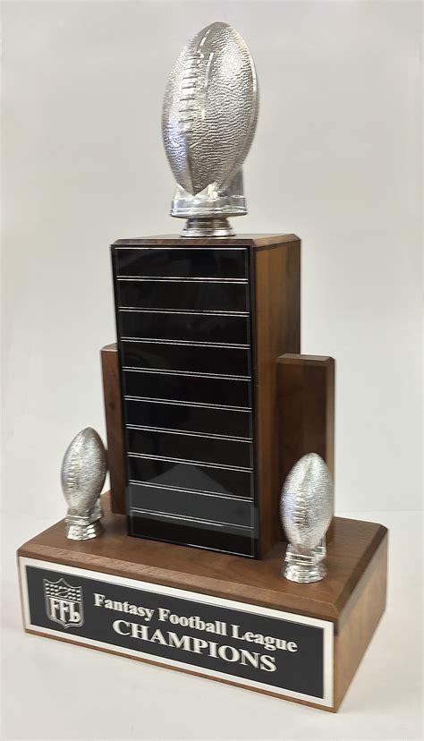 solid walnut fantasy football trophy  silver resin