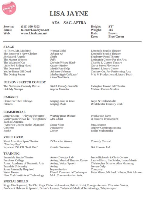 Additional Skills For Acting Resume Jayne Actor For Voice Stage And Print