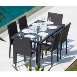arcachon ensemble table de jardin 6 chaises acier et